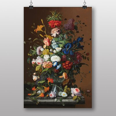 Big Box Art Still Life Flowers and Birds Nest by Severin Roesen Art Print