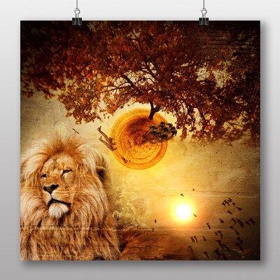Big Box Art Savannah Lion Graphic Art Wrapped on Canvas