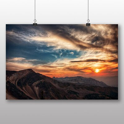 Big Box Art Utah Mountain Sunset USA Photographic Print Wrapped on Canvas