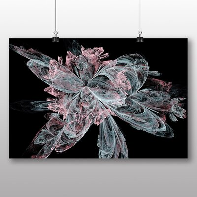 Big Box Art Pink and Blue Fractal Abstract No.8 Graphic Art on Canvas