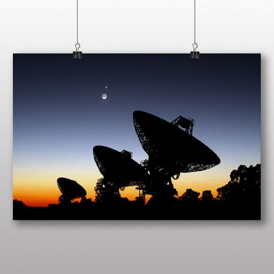 Big Box Art Radar Dishes Planets Space Graphic Art Wrapped on Canvas