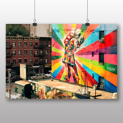 Big Box Art V-Day Kiss Graffiti Photographic Print on Canvas