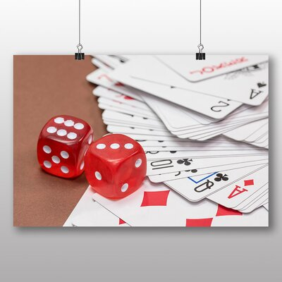 Big Box Art Red Dice and Deck of Cards Photographic Print