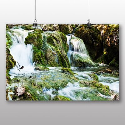 Big Box Art Plitvice Lakes Croatia Waterfall Photographic Print Wrapped on Canvas