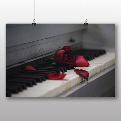 Big Box Art Red Rose Flower Piano Photographic Print on Canvas
