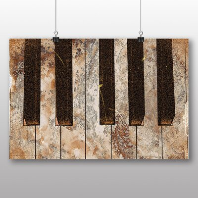 Big Box Art Vintage Piano No.3 Graphic Art Wrapped on Canvas