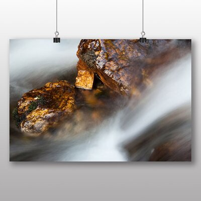 Big Box Art Rock in a Stream Photographic Print on Canvas