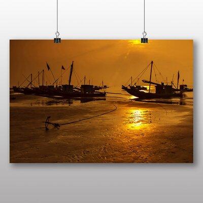 Big Box Art Sunset Beach Boats No.5 Photographic Print