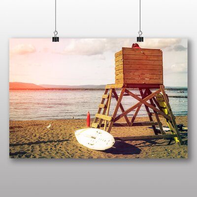 Big Box Art Surfboard at Sunset Photographic Print
