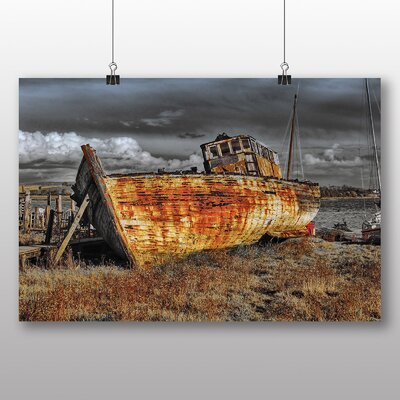 Big Box Art Ship Wreck on Beach No.3 Photographic Print on Canvas