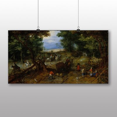 Big Box Art 'The Elder A Woodland Road with Travellers' by Pieter Bruegel Art Print