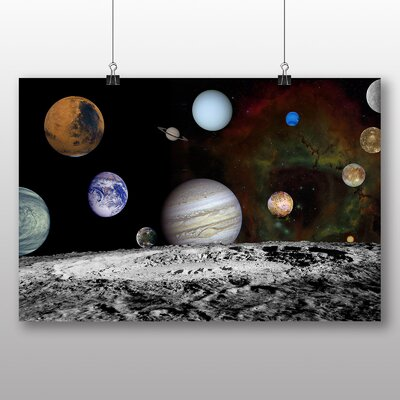 Big Box Art Space Planets No.7 Graphic Art Wrapped on Canvas