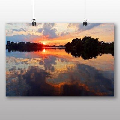 Big Box Art Sunset over Lake No.3 Photographic Print on Canvas