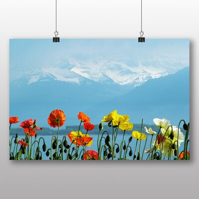 Big Box Art Poppies Mountain Switzerland Photographic Print Wrapped on Canvas