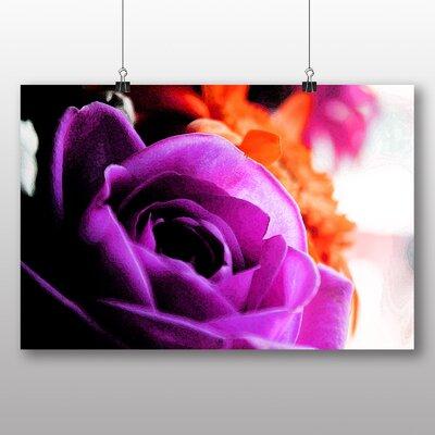 Big Box Art Purple Flower Rose Photographic Print Wrapped on Canvas