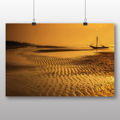 Big Box Art Sunset Beach Boats No.4 Photographic Print Wrapped on Canvas