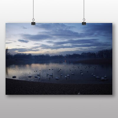Big Box Art Swans at Dusk Photographic Print Wrapped on Canvas