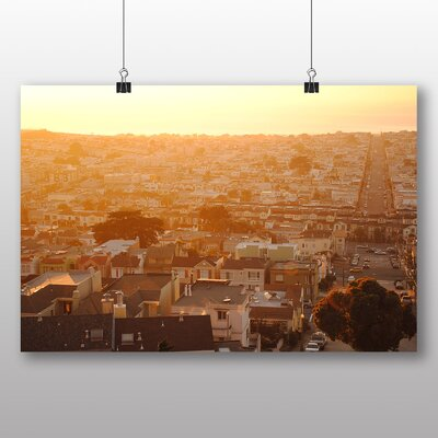 Big Box Art Sunrise over Town Photographic Print Wrapped on Canvas