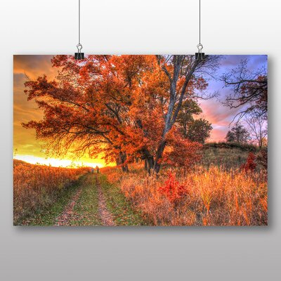 Big Box Art Sunset in Wood Trail Photographic Print on Canvas