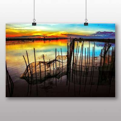 Big Box Art Sunset Over Lagoon Photographic Print on Canvas