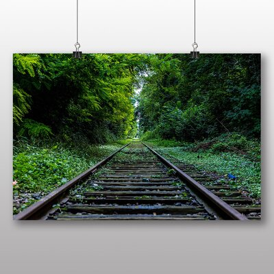 Big Box Art Train Tracks Through Forest Photographic Print on Canvas