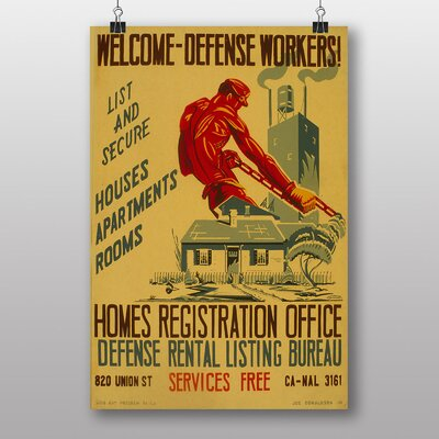 Big Box Art Welcome Home Defense Workers Vintage Advertisement
