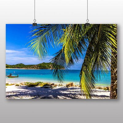 Big Box Art Tropical beach Palm Tree Photographic Print Wrapped on Canvas