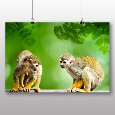 Big Box Art Two Monkeys Graphic Art Wrapped on Canvas