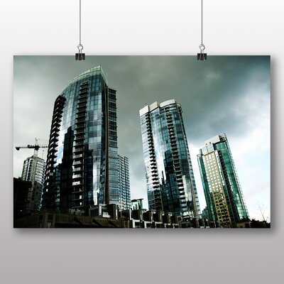 Big Box Art Vancouver Skyline City Canada No.10 Photographic Print Wrapped on Canvas