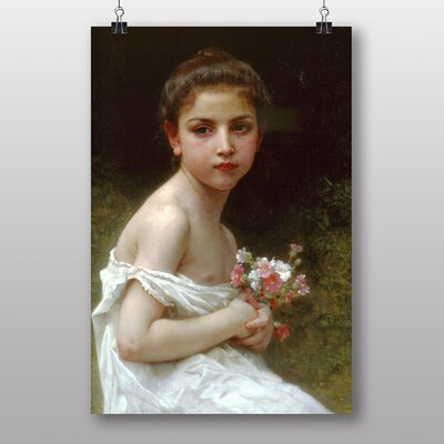 Big Box Art Girl with a Bouquet of Flowers by William Adolphe Bouguereau Art Print