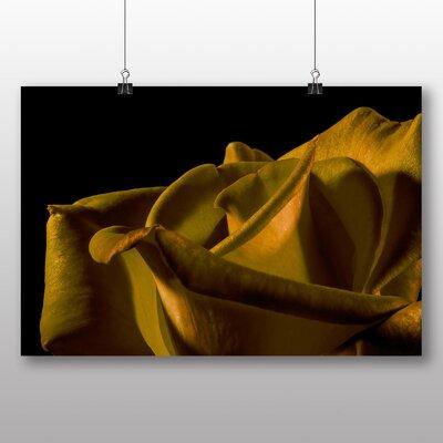Big Box Art Yellow Orange Rose Flower No.5 Photographic Print Wrapped on Canvas