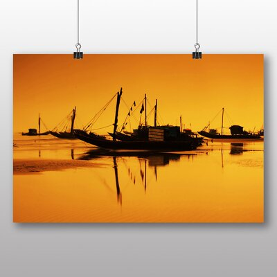 Big Box Art Sunset Beach Boats No.2 Photographic Print