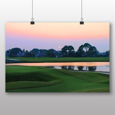 Big Box Art Sunset Over a Golf Course Photographic Print Wrapped on Canvas