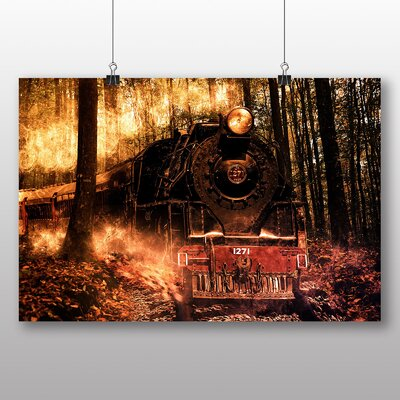 Big Box Art Train Locomotive in Forest Graphic Art on Canvas