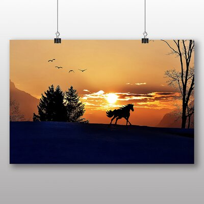 Big Box Art Wild Horse Sunset Birds No.2 Graphic Art Wrapped on Canvas