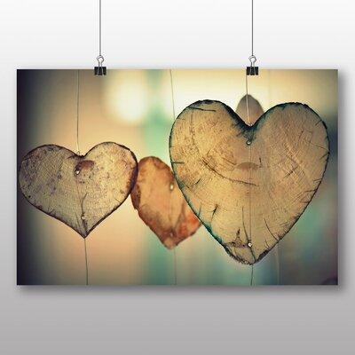 Big Box Art Wooden Hearts Photographic Print on Canvas