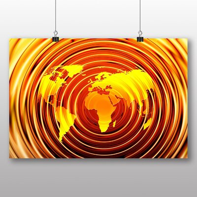 Big Box Art World Map No.5 Graphic Art Wrapped on Canvas
