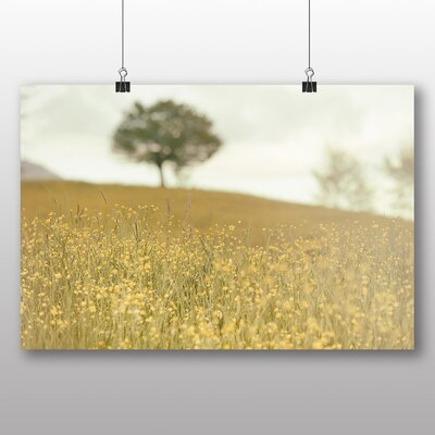 Big Box Art Yellow Meadow and Tree Photographic Print on Canvas