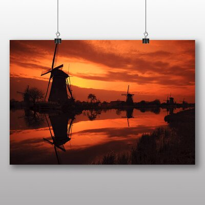 Big Box Art Windmills Sunset Photographic Print