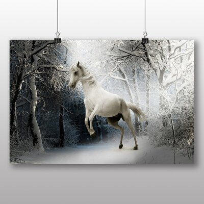 Big Box Art White Horse Snowy Forest Photographic Print
