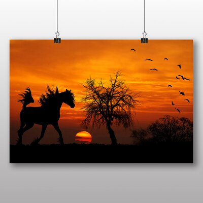 Big Box Art Wild Horse Sunset Birds Photographic Print Wrapped on Canvas