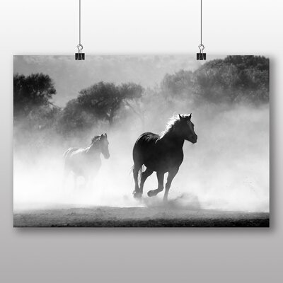Big Box Art Wild Running Horses Photographic Print Wrapped on Canvas