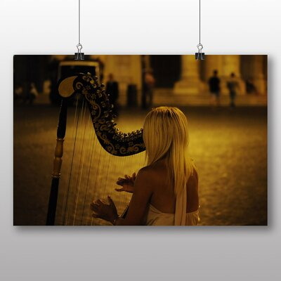 Big Box Art Woman Playing the Harp Photographic Print Wrapped on Canvas