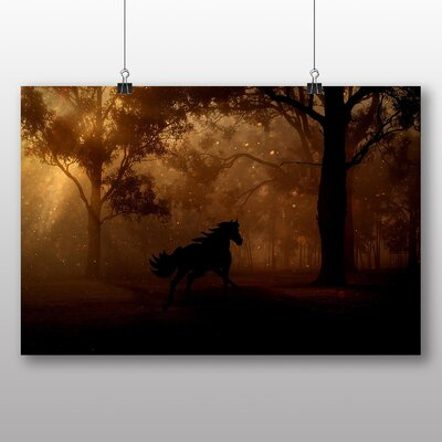Big Box Art Wild Horse in Forest Photographic Print on Canvas