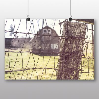 Big Box Art 'Wire Fence and Barn' Photographic Print