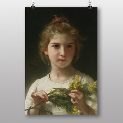 "Big Box Art ""Mimosa Flower Girl"" by William Adolphe Bouguereau Art Print"