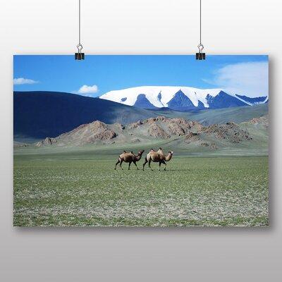 Big Box Art Mongolia Glacier and Camels Photographic Print