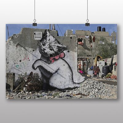 "Big Box Art ""Midleast Palestinians Kitten Graffiti No.1"" by Banksy Art Print"