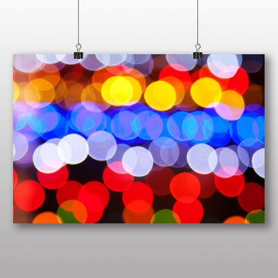 Big Box Art Coloured Blurred Fairy Lights Abstract No.3 Graphic Art