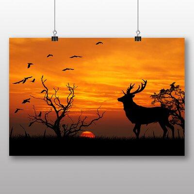 Big Box Art Sunset Stag Deer Photographic Print